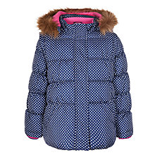 Buy John Lewis Girl Polka Dot Padded Coat, Navy Online at johnlewis.com