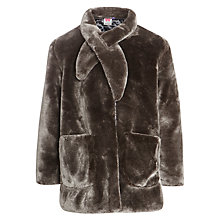 Buy John Lewis Girl Longline Faux Fur Jacket, Brown Online at johnlewis.com