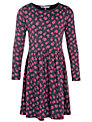 John Lewis Girl Jersey Floral Dress, Grey/Pink