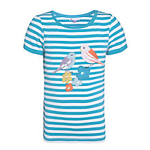 Buy John Lewis Girl Stripe Bird Motif T-Shirt, Blue Online at johnlewis.com
