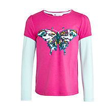 Buy John Lewis Girl Butterfly Sequin Layered T-Shirt, Fuchsia Online at johnlewis.com