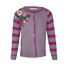Buy John Lewis Girl Stripe Sleeve Floral Embroidered Cardigan, Purple Online at johnlewis.com