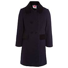 Buy John Lewis Girl Velvet Collar Coat, Navy Online at johnlewis.com