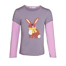 Buy John Lewis Girl Rabbit Long Sleeve T-Shirt, Purple Online at johnlewis.com