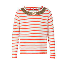Buy John Lewis Girl Sequin Collar Knit Top, Orange/White Online at johnlewis.com