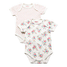 Buy Cath Kidston Baby Girls' Floral and Spots Bodysuit, Pack of 2, Cream/Multi Online at johnlewis.com
