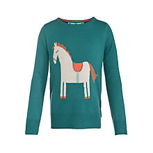 Buy John Lewis Girl Horse Jumper, Blue Online at johnlewis.com