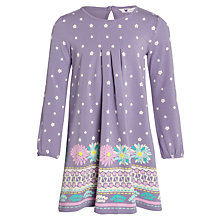Buy John Lewis Girl Border Print Jersey Dress, Purple Online at johnlewis.com
