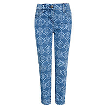 Buy John Lewis Girl Aztec Print Denim Jeans, Blue Online at johnlewis.com