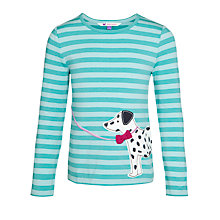 Buy John Lewis Girl Dalmatian Applique Stripe T-Shirt, Turquoise Online at johnlewis.com