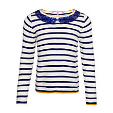 Buy John Lewis Girl Sequin Collar Jumper, Navy/White Online at johnlewis.com