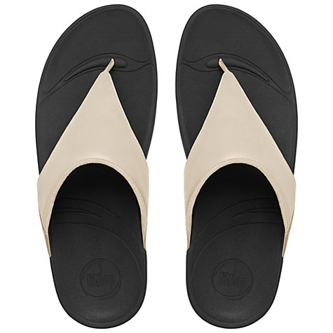 Buy FitFlop Lulu Leather Flip Flops, White Online at johnlewis.com