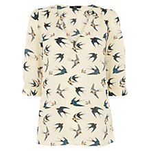 Buy Oasis Bird Print Tabby Top, Multi Natural Online at johnlewis.com