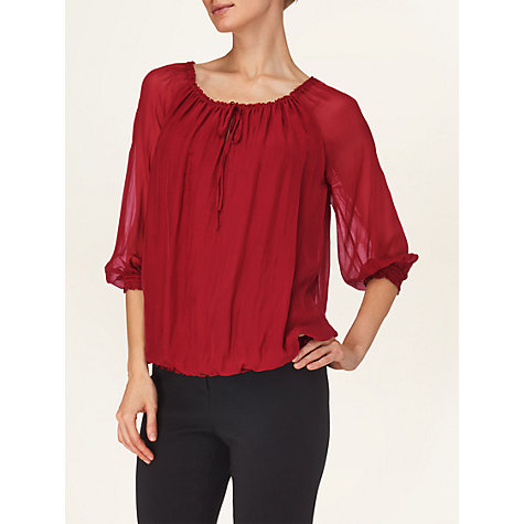 Buy Phase Eight Carmen Silk Blouse, Rouge Online at johnlewis.com