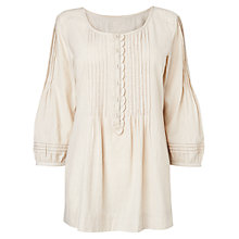 Buy Phase Eight Lucinda Ruffle Blouse, Stone/Ivory Online at johnlewis.com