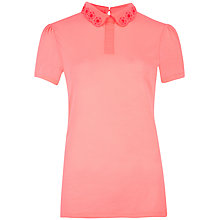 Buy Ted Baker Divah Cut Out Collar Top, Bright Pink Online at johnlewis.com