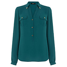 Buy Oasis Collar Tip Safari Shirt, Mid Green Online at johnlewis.com