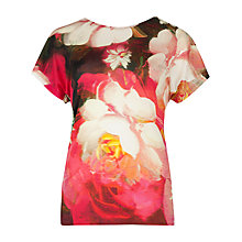 Buy Ted Baker Chofa Rose on Canvas Printed T-Shirt, Bright Pink Online at johnlewis.com