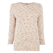 Buy Warehouse Zip Crew Jumper, Raspberry Online at johnlewis.com