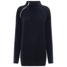 Buy Whistles Chunky Knit Zip Neck Jumper, Navy Online at johnlewis.com