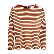 Buy People Tree Libby Stripe Breton Top, Brown Online at johnlewis.com