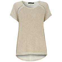 Buy Oui Short Sleeved Knitted Top, Gold Online at johnlewis.com