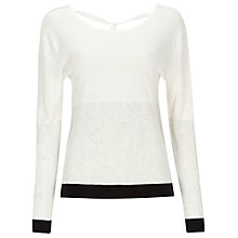 Buy Oui Linen Top, White/Black Online at johnlewis.com