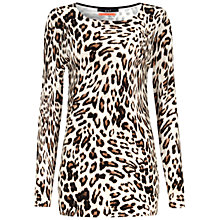 Buy Oui Leopard Knit Top, Brown Online at johnlewis.com