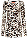 Oui Leopard Knit Top, Brown