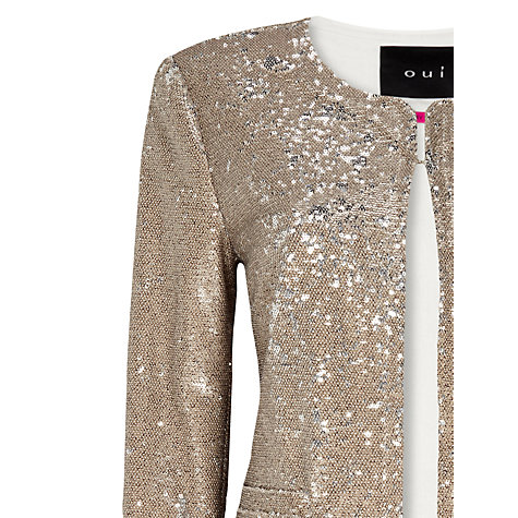 Buy Oui Sequin Jacket, Gold Online at johnlewis.com