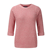 Buy Viyella Petite Moss Stitch Cable Jumper, Raspberry Online at johnlewis.com