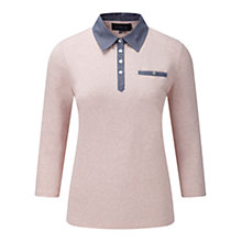 Buy Viyella Denim Polo Top, Shell Pink Online at johnlewis.com