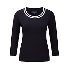 Buy Viyella Contrast Neck Trim Jersey Top, Navy Online at johnlewis.com