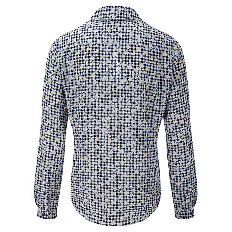 Buy Viyella Floral Gingham Blouse, Navy/Ivory Online at johnlewis.com