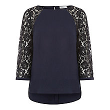 Buy Kaliko Lace Sleeve Blouse, Blue Online at johnlewis.com
