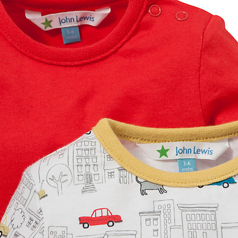 Buy John Lewis Street Print Bodysuits, Pack of 2, Red/Multi Online at johnlewis.com
