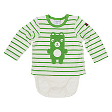 Buy Polarn O. Pyret Baby Stripe Teddy Bear Bodysuit, Green/White Online at johnlewis.com