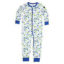 Buy Polarn O. Pyret Car Print Sleepsuit, White/Blue Online at johnlewis.com