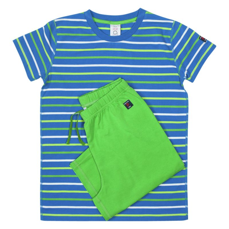 Polarn O. Pyret Boys' Stripe Pyjamas, Blue/Apple Green