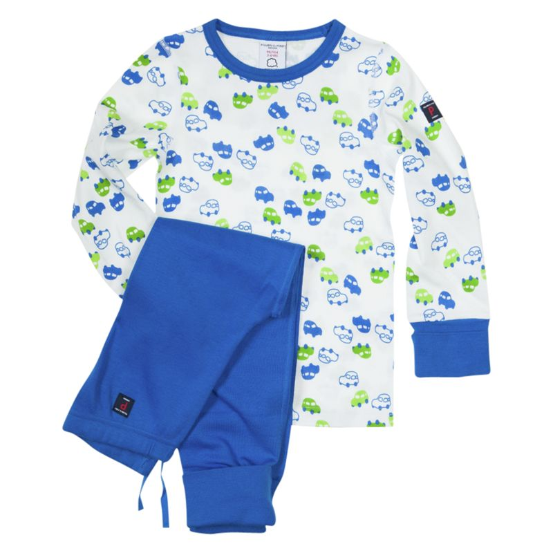 Polarn O. Pyret Car Print Pyjamas, Blue/White