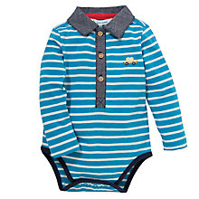Buy John Lewis Baby Collared Stripe Bodysuit, Turquoise Online at johnlewis.com