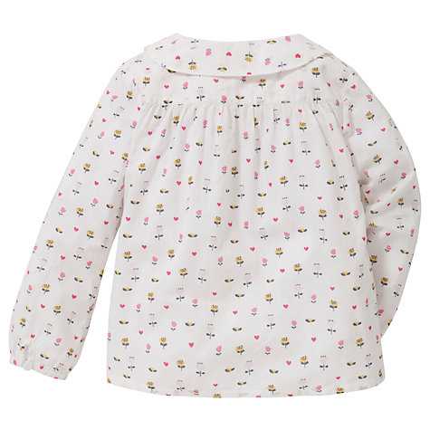Buy John Lewis Flower Print Cotton Blouse, White/Multi Online at johnlewis.com