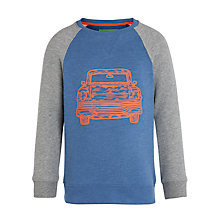 Buy John Lewis Boy Car Long Sleeved Sweatshirt, Blue/Grey Marl Online at johnlewis.com