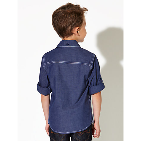 Buy John Lewis Boy Contrast Stitch Pinstripe Shirt, Blue Online at johnlewis.com