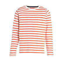 Buy John Lewis Boy Long Sleeve Stripe T-Shirt, Red/Cream Online at johnlewis.com