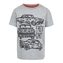 Buy John Lewis Boy 'Fast Cars' Marl T-Shirt, Grey Online at johnlewis.com