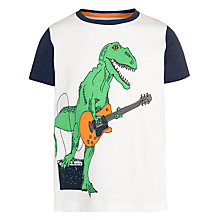 Buy John Lewis Boy Dino Guitar Print T-Shirt, White/Navy Online at johnlewis.com