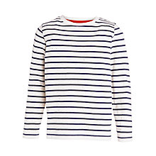 Buy John Lewis Boy Long Sleeve Stripe T-Shirt, Cream/Navy Online at johnlewis.com