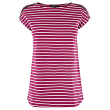Buy Warehouse Stripe Faux Leather Shoulder T-Shirt Online at johnlewis.com