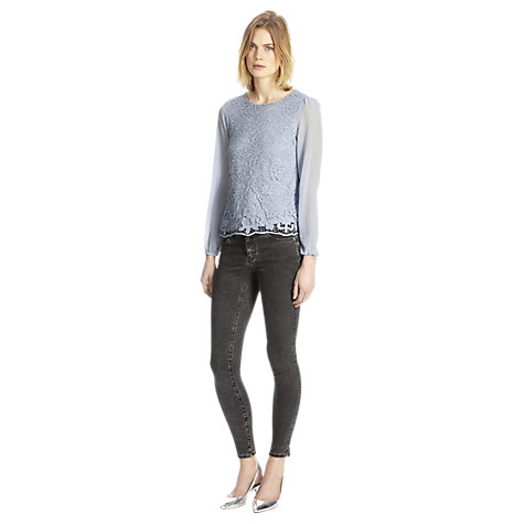 Buy Warehouse Guipure Lace Top, Light Blue Online at johnlewis.com
